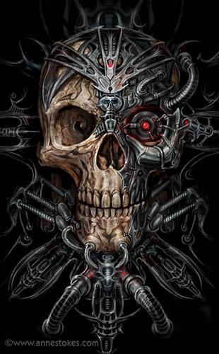 Anne Stokes karatasi la kupamba ukuta entitled Bio Skull