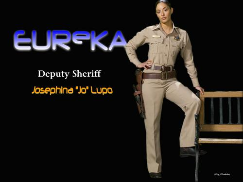 "Eureka 壁纸 possibly containing a well dressed person, a hip boot, and a 便门, wicket called Deputy Sheriff Joesphina ""Jo"" Lupo"