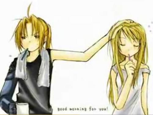 puno kansa alkimiko wolpeyper with a portrait and anime entitled Edward & Winry <3