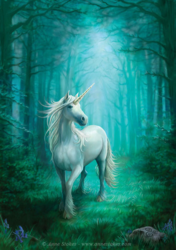 Anne Stokes karatasi la kupamba ukuta with a lippizan called Forest Unicorn