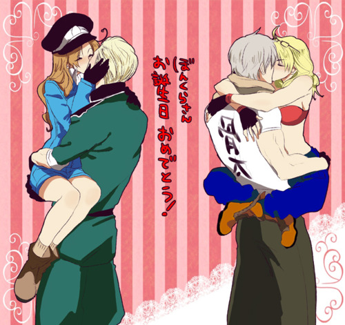 Hetalia Couples! achtergrond containing anime called Germany x fem! Italy and Russia x fem! America