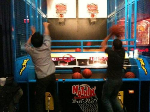 Glenn and Shane playing at Dave and Busters!