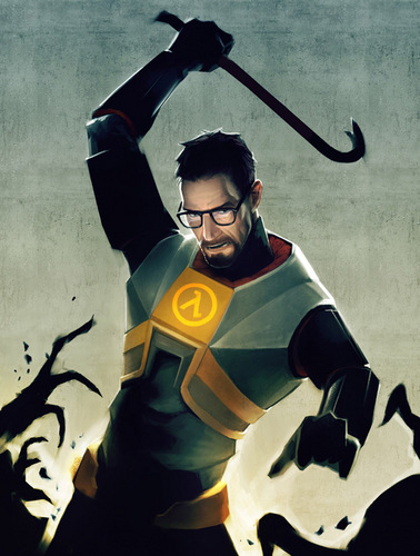 Gordon Freeman about to oscilación a crowbar