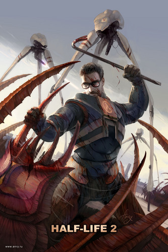 Gordon Freeman grabbing a Barnacle