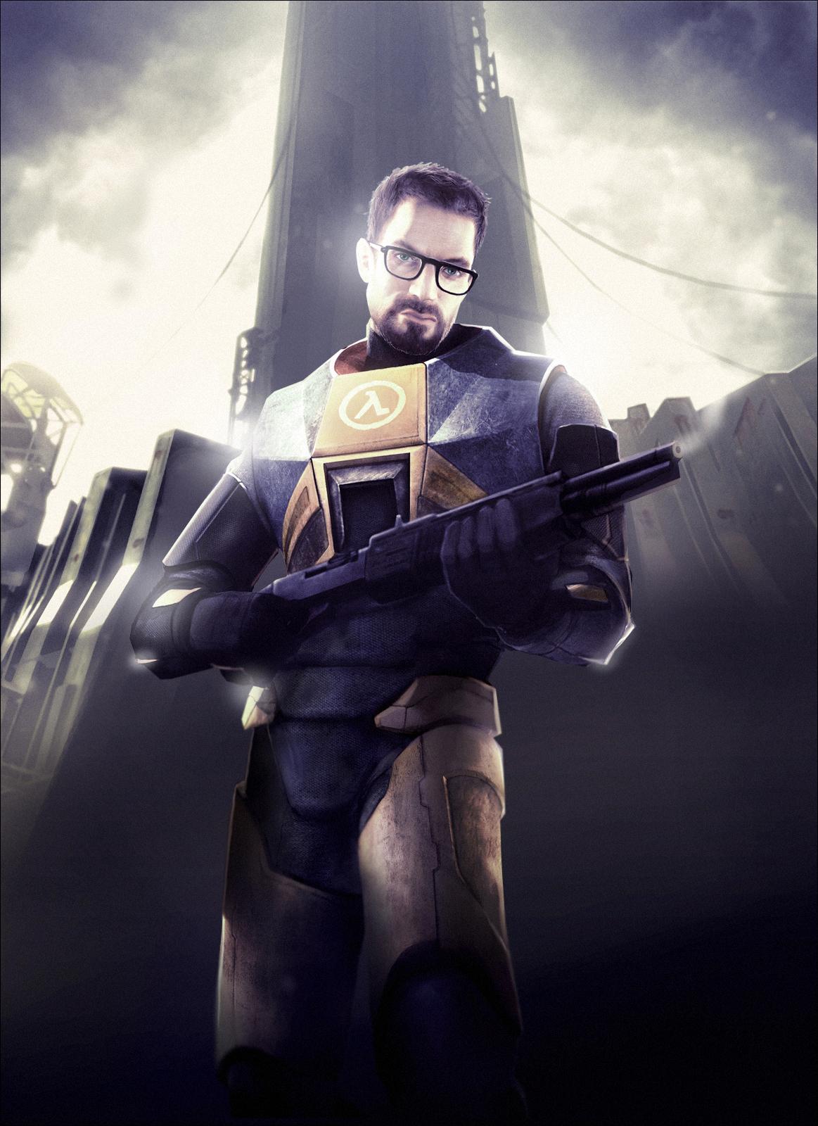 Gordon Freeman In Hl2 Holding A Smoking Shotgun Gordon