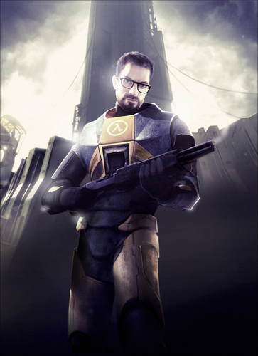Gordon Freeman in HL2 holding a smoking shotgun