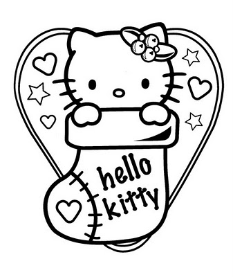 Hello Kitty Weihnachten Coloring Page