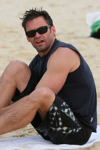 Hugh Jackman goes for a swim in the ocean