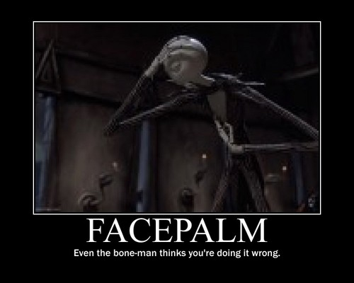 Jack Skellington wallpaper probably with a breastplate entitled Jack Skellington Facepalm