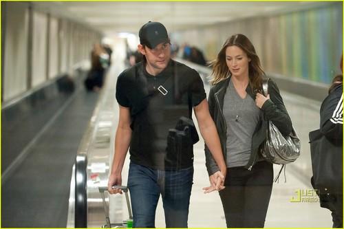 John Krasinski & Emily Blunt Land at LAX