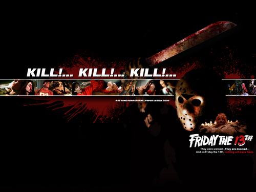 Jason Voorhees achtergrond possibly with a sign, a machete, and a lippizan titled Kill! Kill! Kill!