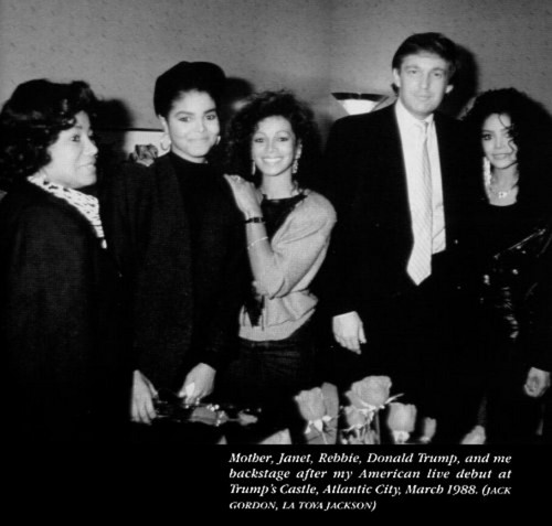 LATOYA REBBIE JANET MOTHER KATHERINE JACKSON AND DONALD TRUMP 1988