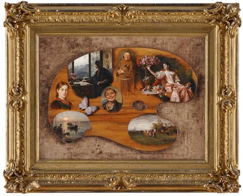 Ladislaus von Czachorski (1850-1911) - 'Munchen Malerpalette mit Motiven' (montage of 7 artists)