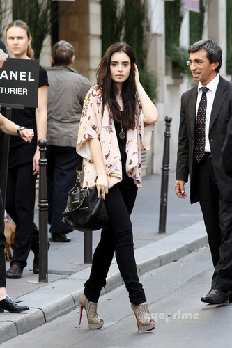 Lily Collins seen out shopping in Paris, Sep 27
