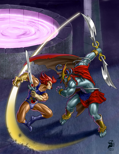Thundercats wallpaper possibly containing a turntable called Lion-O vs Mumm-Ra