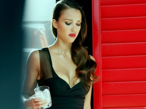 Jessica Alba wallpaper probably with a cocktail dress and a chemise titled Lovely Jessica Wallpaper ❤