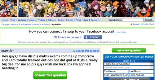 Math exams and Anime
