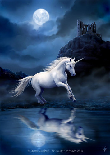 Anne Stokes karatasi la kupamba ukuta with a lippizan entitled Moonlight Unicorn