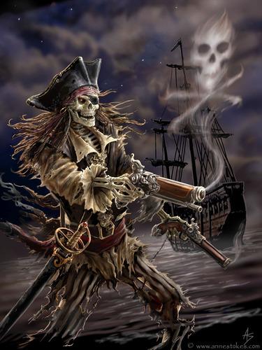 Anne Stokes karatasi la kupamba ukuta called Pirate Skeleton