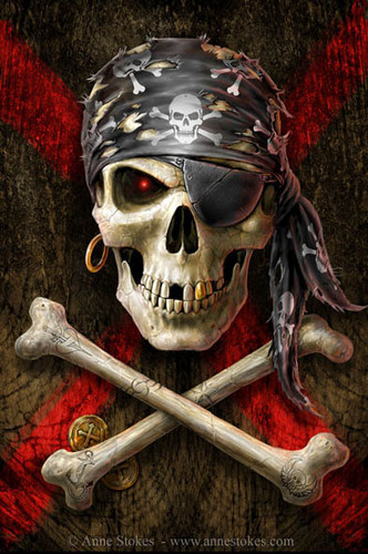 Anne Stokes karatasi la kupamba ukuta called Pirate Skull