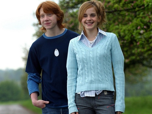 Romione wallpaper possibly containing a pullover, a cardigan, and an outerwear titled Ron and Hermione Wallpaper