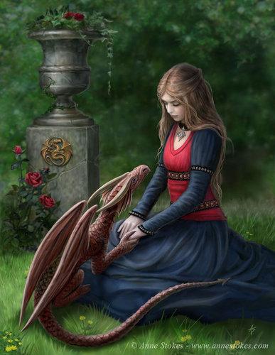 Anne Stokes वॉलपेपर entitled Secret Garden