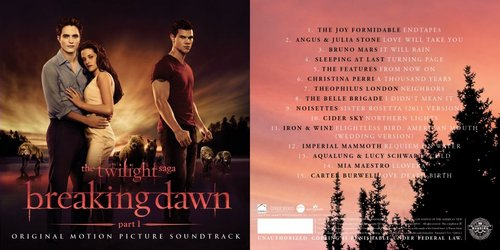 THE TWILIGHT SAGA: BREAKING DAWN - PART 1 Soundtrack artwork & track orodha