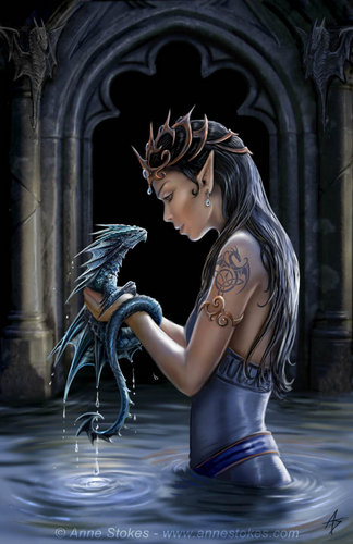 Anne Stokes karatasi la kupamba ukuta probably with a sign, a street, and a bouquet called Water Dragon