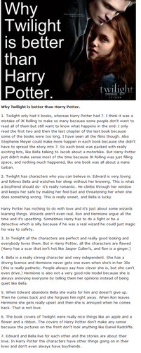 Why Twilight is better than Harry Potter