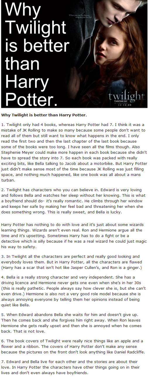 Why Twilight is better than Harry Potter - Harry Potter Vs