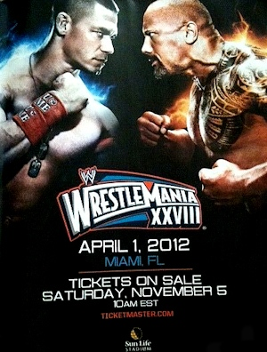 Wrestlemania Poster featuring The Rock and John Cena