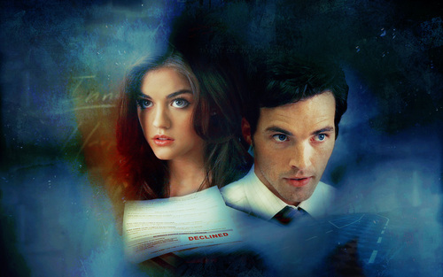 Ezra & Aria wallpaper probably containing a business suit and a portrait called ezra/aria;