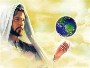 Yesus wallpaper possibly containing a hot tub and a portrait entitled Yesus holding the world