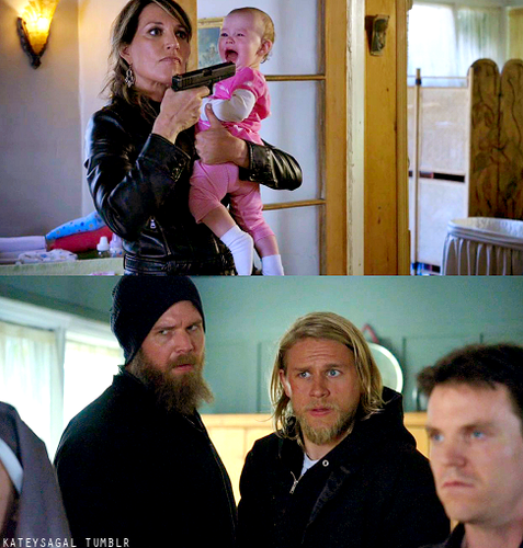 Sons Of Anarchy wallpaper possibly with a spatula, a diner, and a sign titled Gemma, Jax & Opie