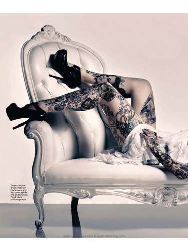 "Kat Von D wallpaper possibly containing a dressing table, a chaise longue, and a drawing room titled ""Inked"" magazine"
