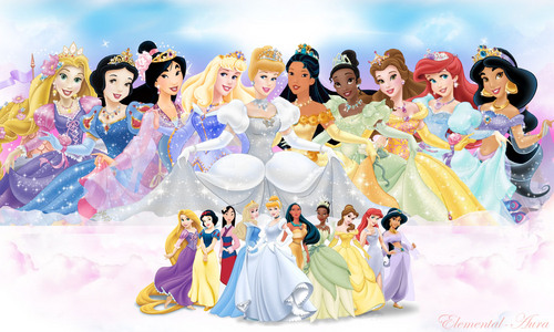 Disney Princess karatasi la kupamba ukuta titled 10 Official Princesses (Ariel Blue Dress)