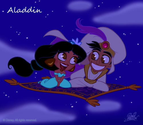 Aladdin and Jasmine Chibi