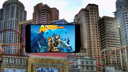 Alpha and omega logo on a tv screen in the city.