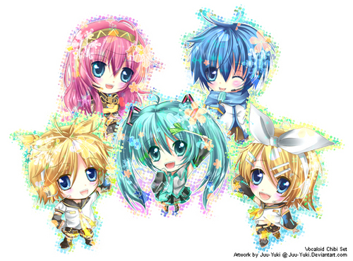 Vocaloids wallpaper probably containing anime entitled Chibi Vocaloids!