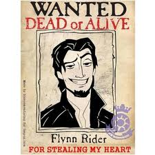 Flynn is wanted for stealing Rapunzel's corazón XD