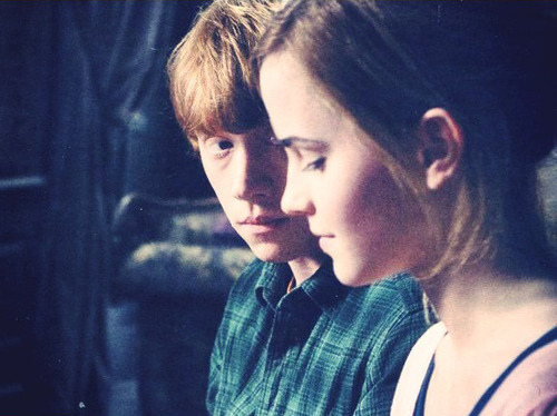 Hermione and Ron wallpaper probably containing a portrait titled HP