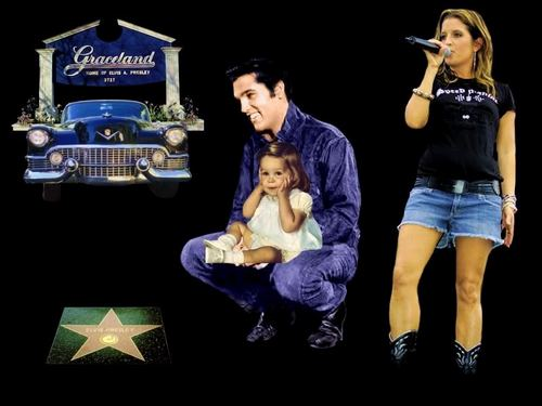 Elvis Aaron Presley and Lisa Marie Presley wallpaper probably with a sign, long trousers, and a concert entitled Lisa && Daddy ♥