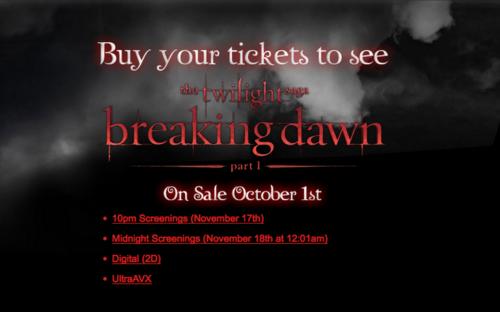 Order Breaking Dawn Tickets