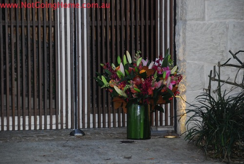 Someone gives leo flowers ouside his Syndey Home