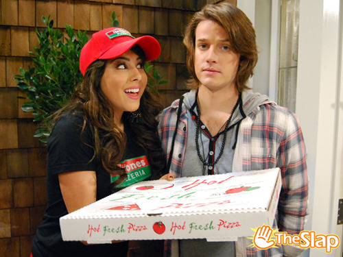 Trina with pizza