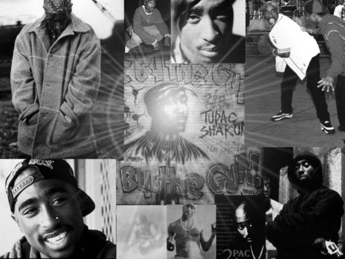 Tupac Shakur wallpaper possibly containing a street, an outerwear, and a sign entitled Tupac 1024x768
