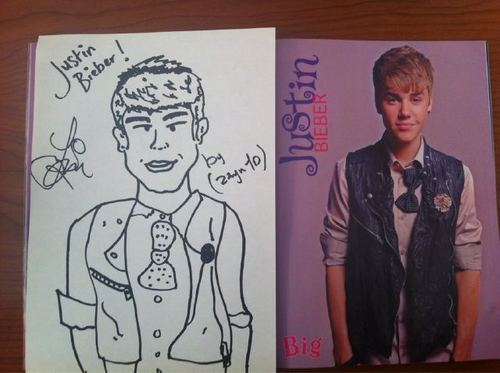 Zayn's drawing of Justin Bieber :)