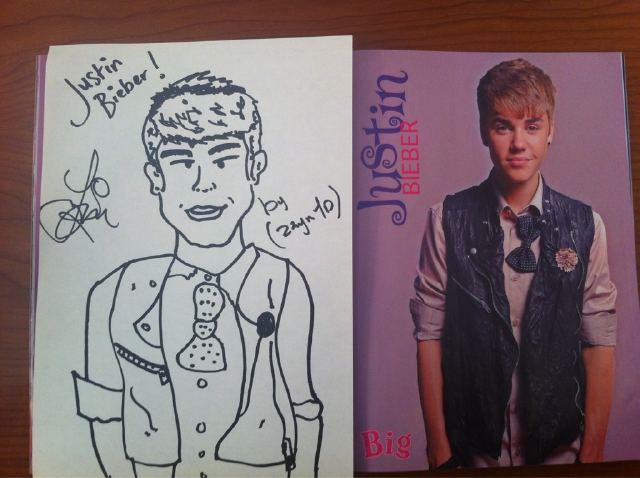 Zayn's drawing of Justin Bieber :)