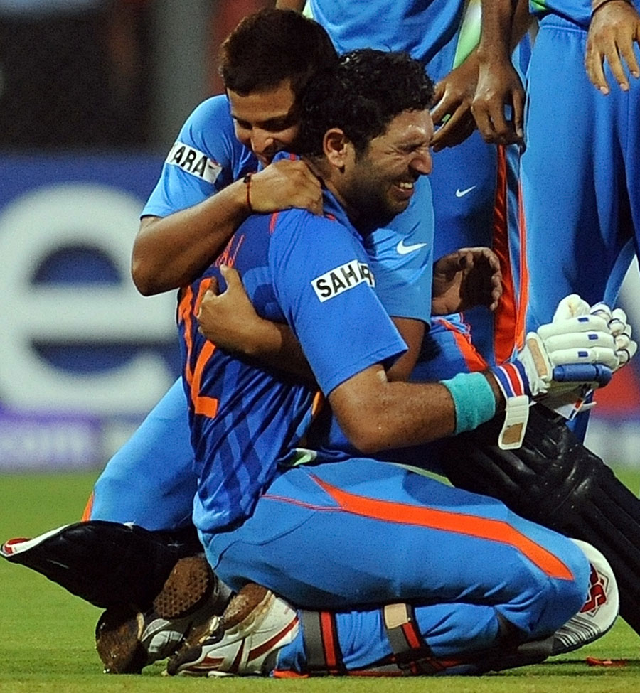 Indian Cricket Team Images Awwwww Yuvis Cryin And Raina Is Comfortin