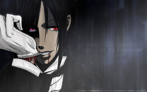 black butler wallpaper probably containing a sign titled bite me